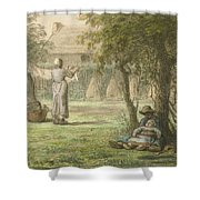 Hanging Out The Laundry By Jean-francois Millet Shower Curtain