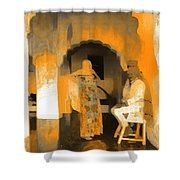 Hanging Out Travel Exotic Arches Orange Abstract Square India Rajasthan 1c Shower Curtain