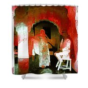 Hanging Out Travel Exotic Arches Red Abstract Square India Rajasthan 1e Shower Curtain