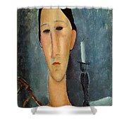 Hanka Zborowska With A Candlestick Shower Curtain by Amedeo Modigliani