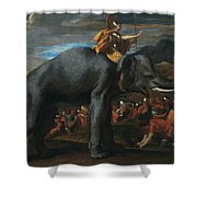 Hannibal Crossing The Alps On Elephants By Nicolas Poussin, 1625-1626. Shower Curtain