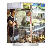 Hanoi, Vietnam  Vietnamese Street Food Seller Li Shower Curtain