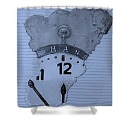 Hans Clock Cyan Shower Curtain