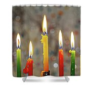Hanukkah Menorah With Burning Candles Shower Curtain