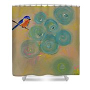 Happiness In Blue  Shower Curtain