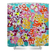 Happy Abstract Flowers Shower Curtain