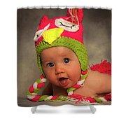 Happy Baby In A Woollen Hat Shower Curtain