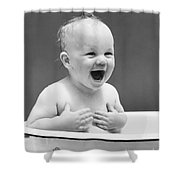 Happy Baby In Tub, C. 1940s Shower Curtain