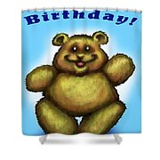 Happy Birthday Bear Shower Curtain