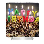 Happy Birthday Candles Shower Curtain