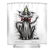Happy Birthday Cat Shower Curtain