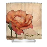 Happy Birthday Peach Rose Card Shower Curtain