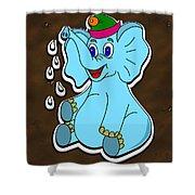 Happy Blue Elephant Gingerbread Shower Curtain