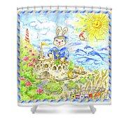 Happy Bunny Building Castle Shower Curtain