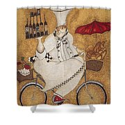 Happy Chef On The Bike Shower Curtain