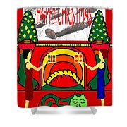 Happy Christmas 13 Shower Curtain