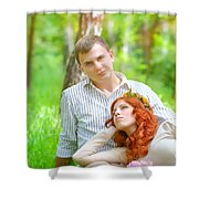 Happy Couple In A Park Shower Curtain