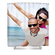 Happy Couple On Beach Shower Curtain