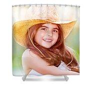 Happy Cute Girl Portrait Shower Curtain