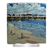 Happy Day At Santa Monica Beach And Pier Shower Curtain