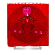 Happy Dog Loves Bleeding Hearts Shower Curtain