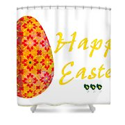Happy Easter Abstract Greeting Card Art By Omaste Witkowski  Shower Curtain