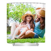 Happy Family In The Backyard Shower Curtain