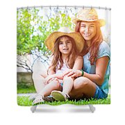 Happy Family On A Backyard Shower Curtain