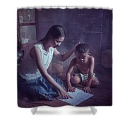 Happy Family Sisters And Brothers Read Books In The Evening At H Shower Curtain