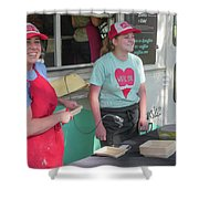 Happy Food Truck Workers Shower Curtain