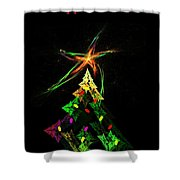 Happy Fractal Holidays Shower Curtain