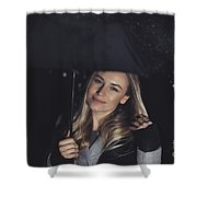 Happy Girl At Rainy Night Outdoors Shower Curtain