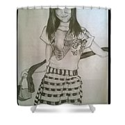 Happy Girl In Naga Outfit  Shower Curtain