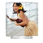 Happy Girl With Ukulele Shower Curtain by Brandon Tabiolo - Printscapes