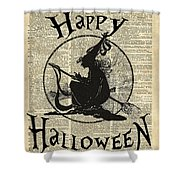 Happy Halloween Witch With Broom Dictionary Artwork Shower Curtain