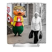 Happy Hamster And Od Woman Colour Art Shower Curtain