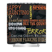 Happy Haunting Typography Shower Curtain