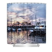 Happy Hour Sunset At Bluewater Bay Marina, Florida Shower Curtain