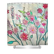 Happy Hummingbirds Shower Curtain