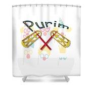 Happy Joyous Purim  Shower Curtain