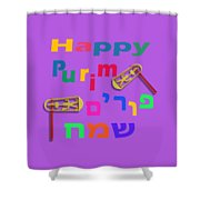 Happy Joyous Purim In Hebrew And English Shower Curtain
