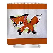 Happy Little Fox Shower Curtain