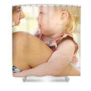 Happy Mother Holding Baby With Look Of Surprise Shower Curtain