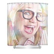 Happy Nerd Girl Singing Karaoke And Dancing Shower Curtain