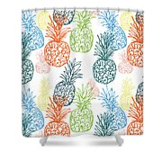 Happy Pineapple- Art By Linda Woods Shower Curtain