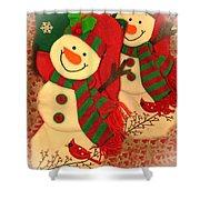 Happy Snowmen Shower Curtain