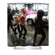 Happy Songkran. The Water Splashing Shower Curtain