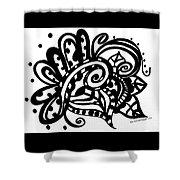Happy Swirl Doodle Shower Curtain