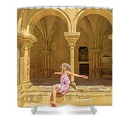Happy Tourist Visits Coimbra Shower Curtain