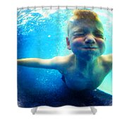 Happy Under Water Pool Boy Square Shower Curtain
